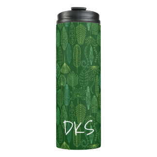 Watercolor Tropical Leaves | Monogram Thermal Tumbler