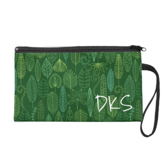 Watercolor Tropical Leaves | Monogram Wristlet Clutches