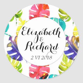Watercolor Tropical Leaves wedding  monogram Classic Round Sticker