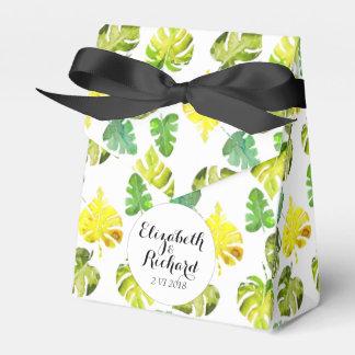 Watercolor Tropical Leaves wedding  monogram Favour Box