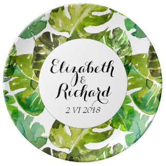 Watercolor Tropical Leaves wedding  monogram Plate