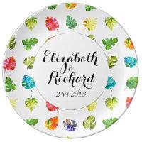 Watercolor Tropical Leaves wedding monogram plate