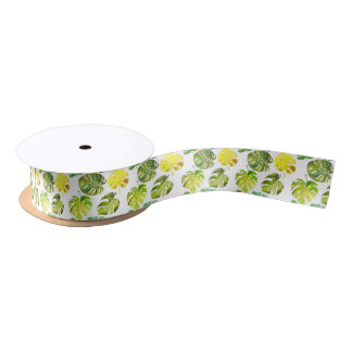 Watercolor Tropical Leaves wedding  monogram Satin Ribbon