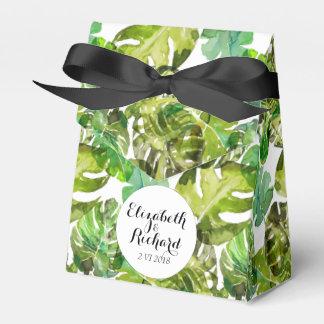 Watercolor Tropical Leaves wedding  monogram Wedding Favour Box
