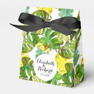 Watercolor Tropical Leaves wedding  monogram Wedding Favour Boxes