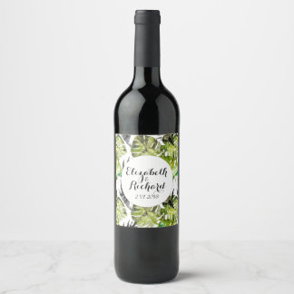 Watercolor Tropical Leaves wedding  monogram Wine Label