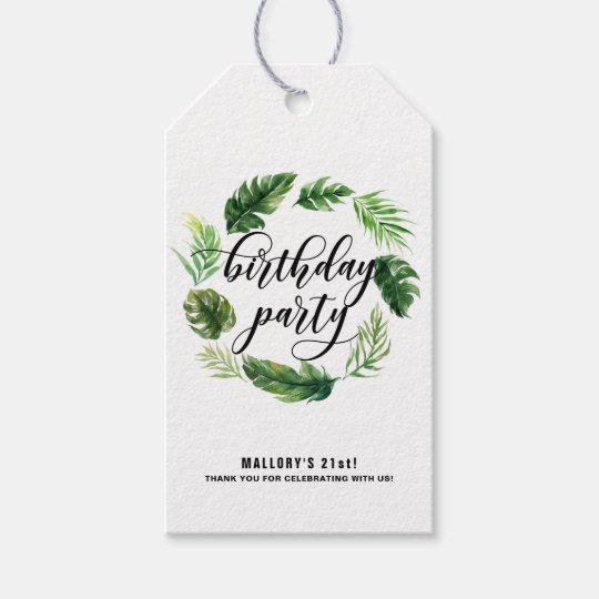 Watercolor Tropical Leaves Wreath Birthday Gift Tags