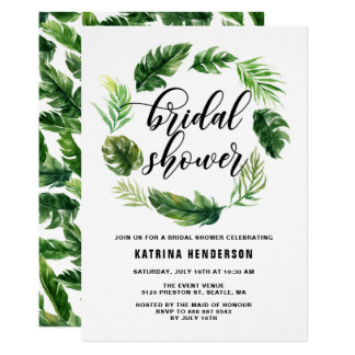 Watercolor Tropical Leaves Wreath Bridal Shower Card