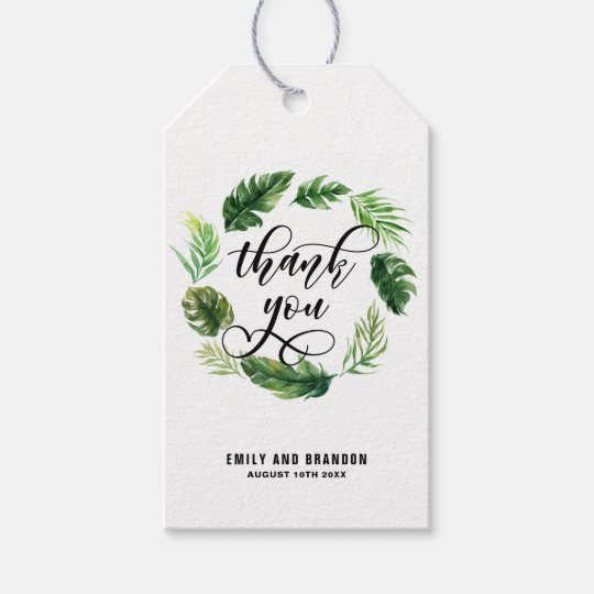 Watercolor Tropical Leaves Wreath Thank You ddd Gift Tags