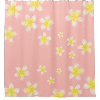 Watercolor Tropical Light Peach Pink Plumeria Shower Curtain