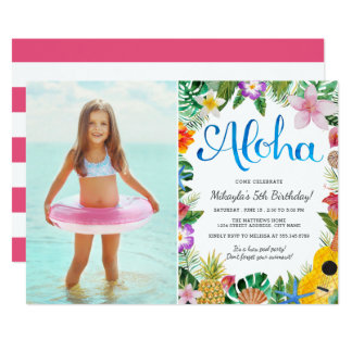 Watercolor Tropical Luau | Photo Birthday Party Card