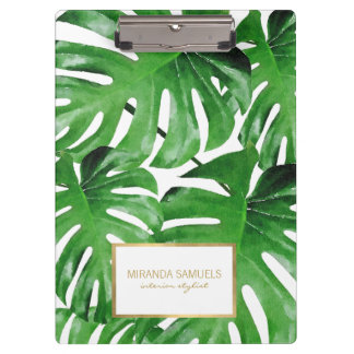 Watercolor Tropical Monstera Leaves Pattern Clipboard