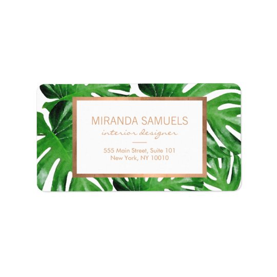 Watercolor Tropical Monstera Leaves Pattern II Address Label