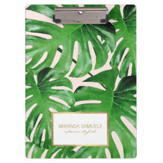 Watercolor Tropical Monstera Leaves Pattern Pink Clipboard
