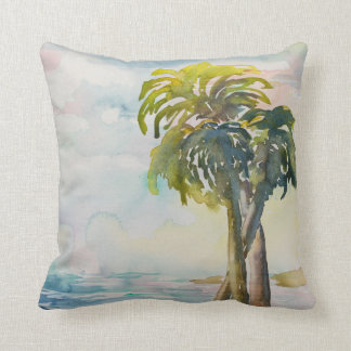 Watercolor Tropical Ocean Palm Trees Leaves Cushion