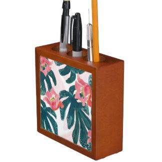 Watercolor Tropical Palm,Hawaiian Hibiskus Desk Organiser