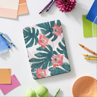 Watercolor Tropical Palm,Hawaiian Hibiskus iPad Air Cover