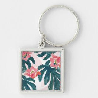 Watercolor Tropical Palm,Hawaiian Hibiskus Key Ring