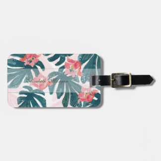 Watercolor Tropical Palm,Hawaiian Hibiskus Luggage Tag
