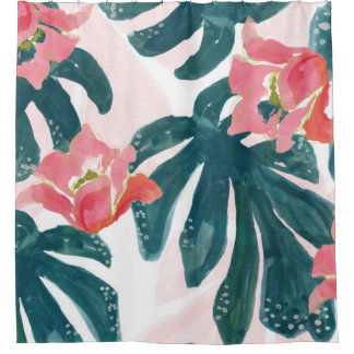 Watercolor Tropical Palm,Hawaiian Hibiskus Shower Curtain