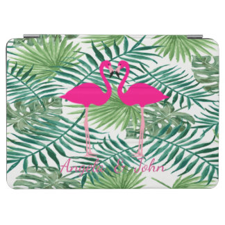 Watercolor Tropical Palm Leaves,Pink Flamingos iPad Air Cover
