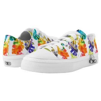 Watercolor tropical palm leaves printed shoes
