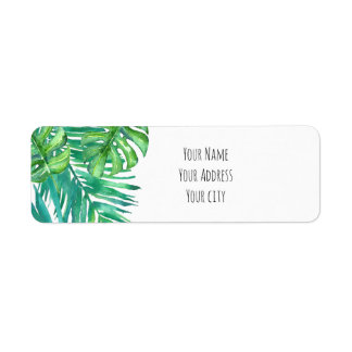 watercolor tropical palm leaves return address label
