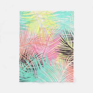 Watercolor tropical palm tree leaf pattern fleece blanket