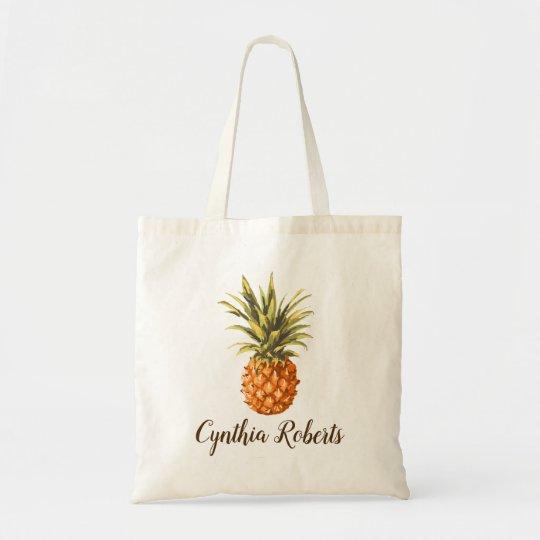 Watercolor Tropical Pineapple Bridesmaid Favour Tote Bag