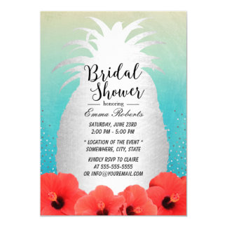 Watercolor Tropical Pineapple Floral Bridal Shower Card