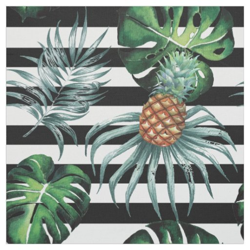 Watercolor tropical pineapple with black stripes fabric