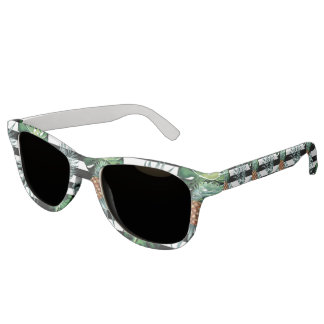 Watercolor tropical pineapple with black stripes sunglasses