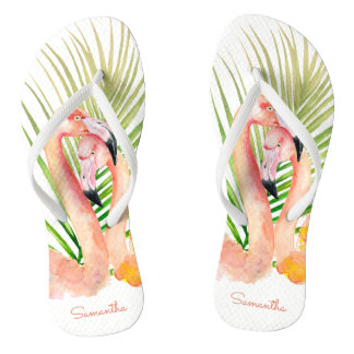 Watercolor Tropical Pink Flamingos with Your Name Flip Flops