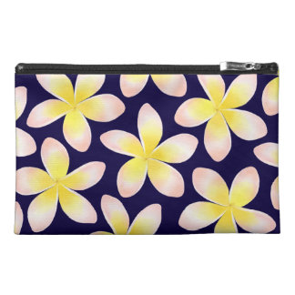 Watercolor Tropical Plumeria Navy Blue Travel Bag Travel Accessory Bags