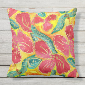 Watercolor Tropical Red Hibiscus Gold Glitter Outdoor Cushion