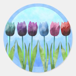Watercolor Tulip Round Sticker