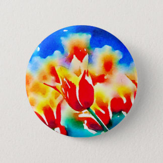 Watercolor Tulips 6 Cm Round Badge