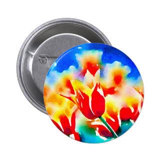 Watercolor Tulips 6 Cm Round Badge