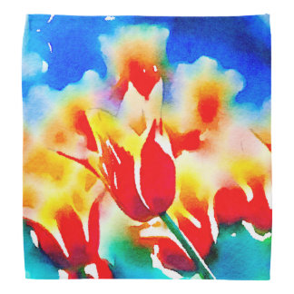 Watercolor Tulips Bandana