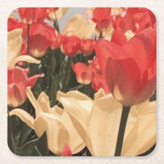 Watercolor Tulips Coasters Square Paper Coaster
