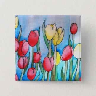Watercolor Tulips (Kimberly Turnbull Art) 15 Cm Square Badge