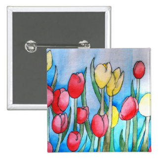 Watercolor Tulips (Kimberly Turnbull Art) Button