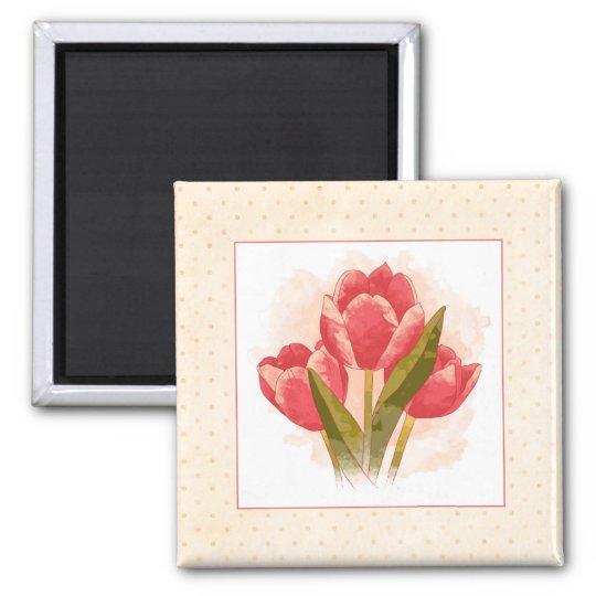 Watercolor Tulips Magnet