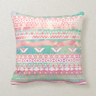 Watercolor Turquoise Pink Girly Abstract Aztec Cushion
