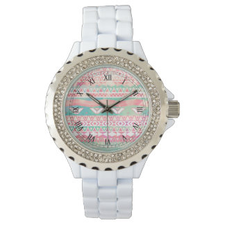 Watercolor Turquoise Pink Girly Abstract Aztec Watch
