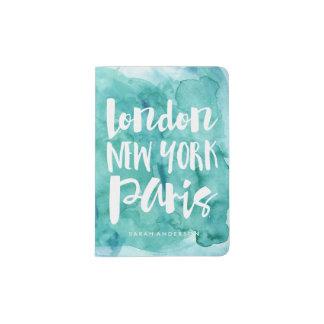 Watercolor Typography Favorite Cities Passport Holder