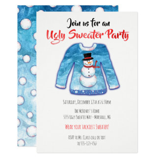 Watercolor Ugly Sweater Tacky Christmas Party Card