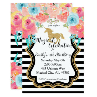 Watercolor Unicorn Birthday Invitation