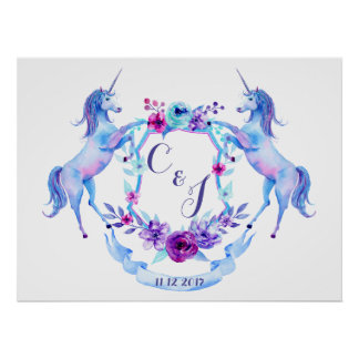 Watercolor Unicorn Crest Poster