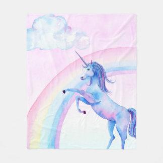 Watercolor Unicorn Fleece Blanket